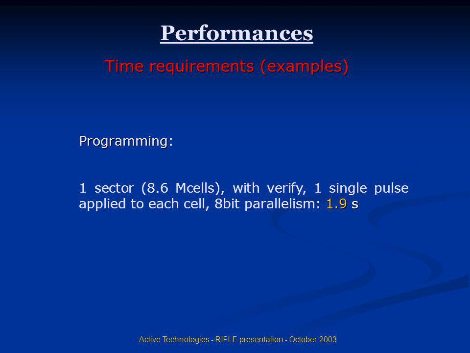 Active Technologies - RIFLE presentation - October 2003 Programming: 1 sector (8.6 Mcells), with verify, 1 single pulse applied to each cell, 8bit par