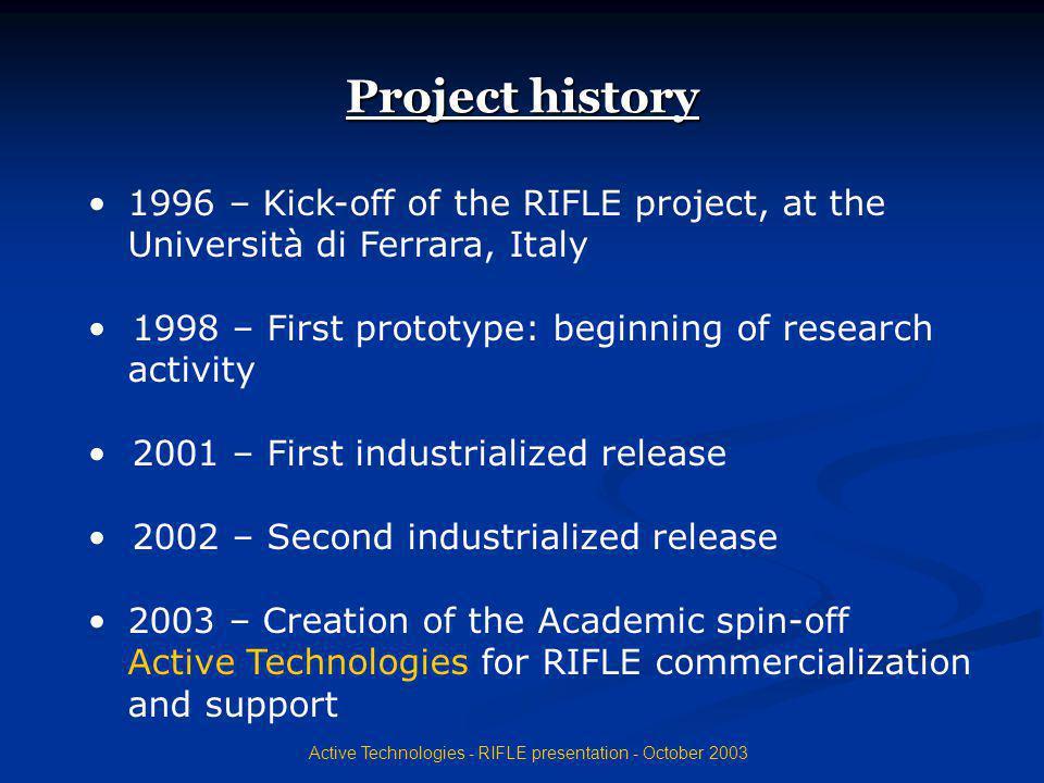 Active Technologies - RIFLE presentation - October 2003 Performances PW0 current measurement unit: 3 full-scales: 500 A, 10 bit resolution 5 mA, 10 bit resolution 5 55 50 mA, 10 bit resolution Current unit resolutions and full-scales