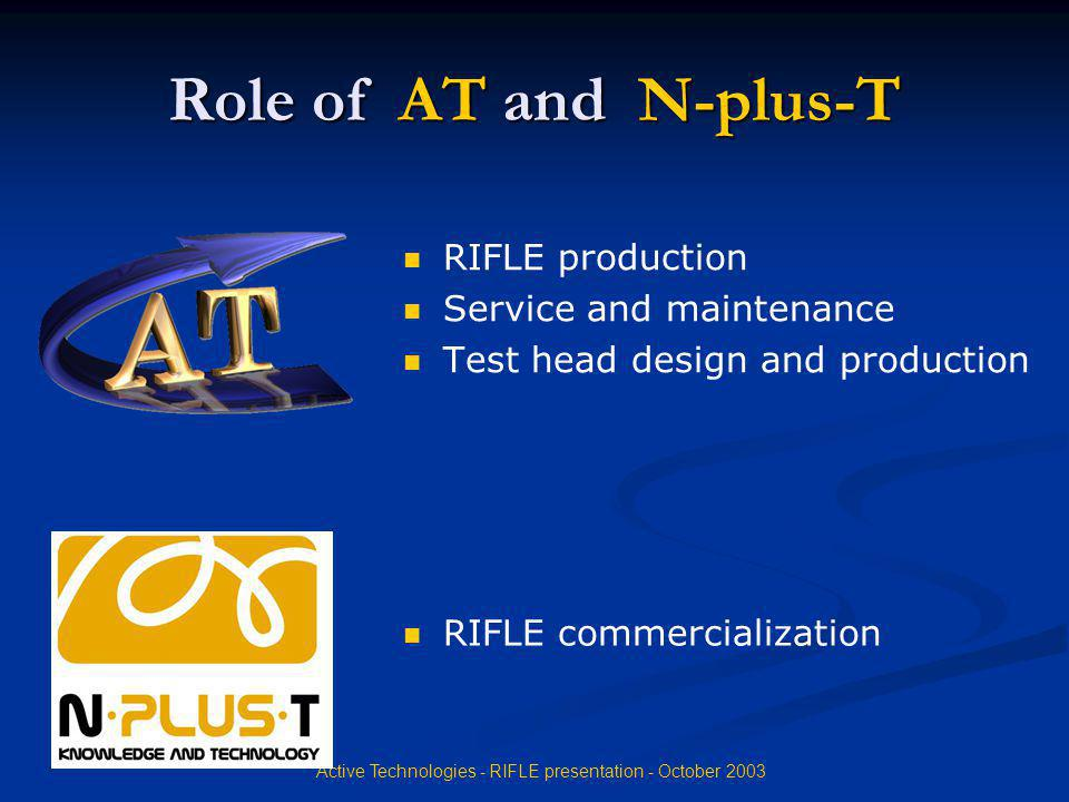 Active Technologies - RIFLE presentation - October 2003 Role of AT and N-plus-T RIFLE production Service and maintenance Test head design and producti