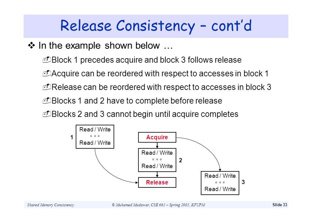 Shared Memory Consistency© Muhamed Mudawar, CSE 661 – Spring 2005, KFUPMSlide 33 Release Consistency – contd In the example shown below … Block 1 prec