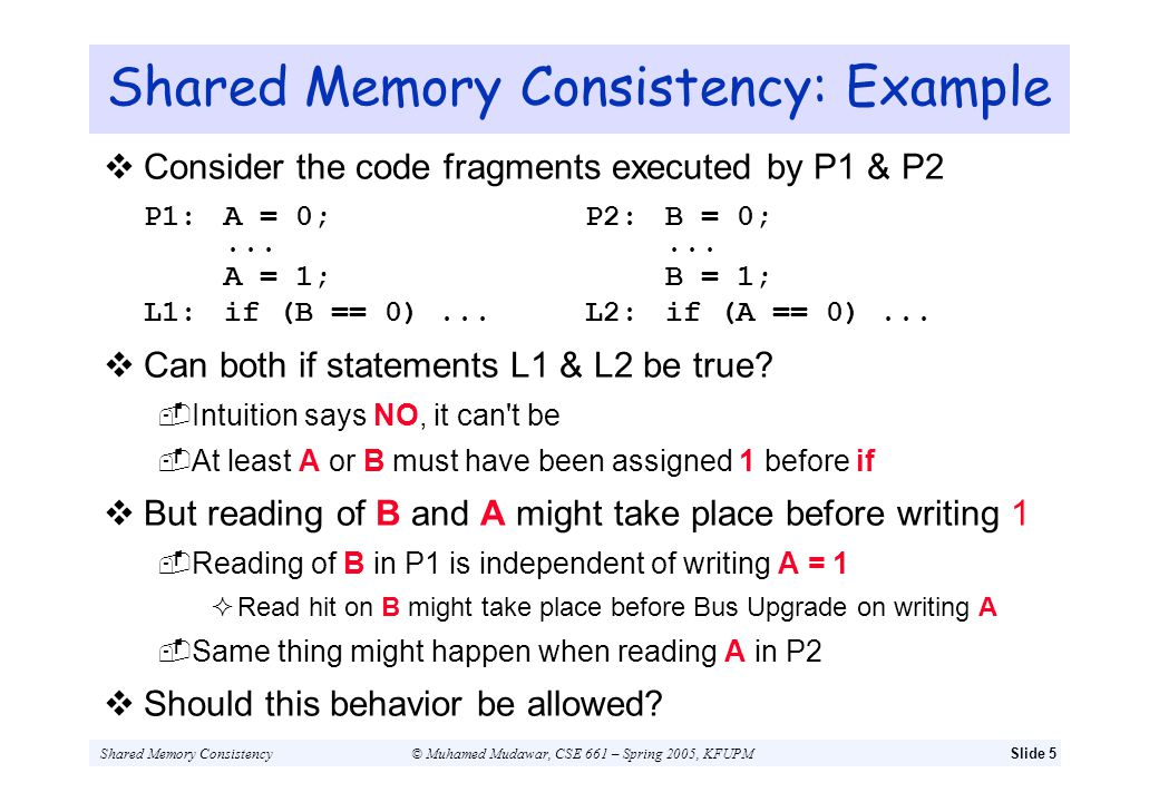 Shared Memory Consistency© Muhamed Mudawar, CSE 661 – Spring 2005, KFUPMSlide 5 Shared Memory Consistency: Example Consider the code fragments execute