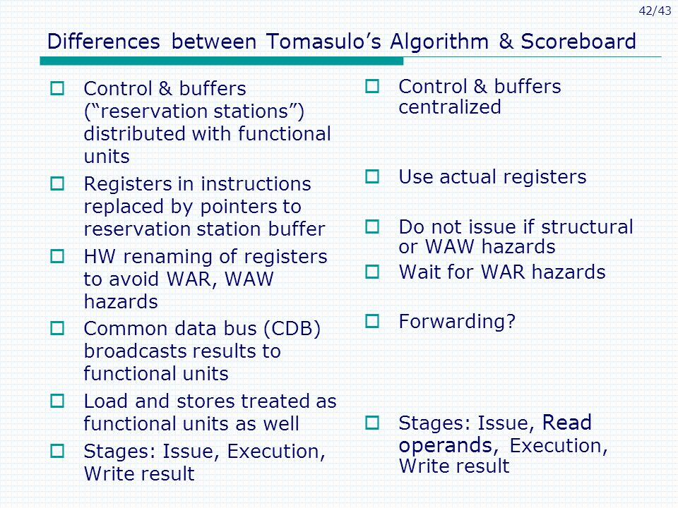 42/43 Differences between Tomasulos Algorithm & Scoreboard Control & buffers (reservation stations) distributed with functional units Registers in instructions replaced by pointers to reservation station buffer HW renaming of registers to avoid WAR, WAW hazards Common data bus (CDB) broadcasts results to functional units Load and stores treated as functional units as well Stages: Issue, Execution, Write result Control & buffers centralized Use actual registers Do not issue if structural or WAW hazards Wait for WAR hazards Forwarding.