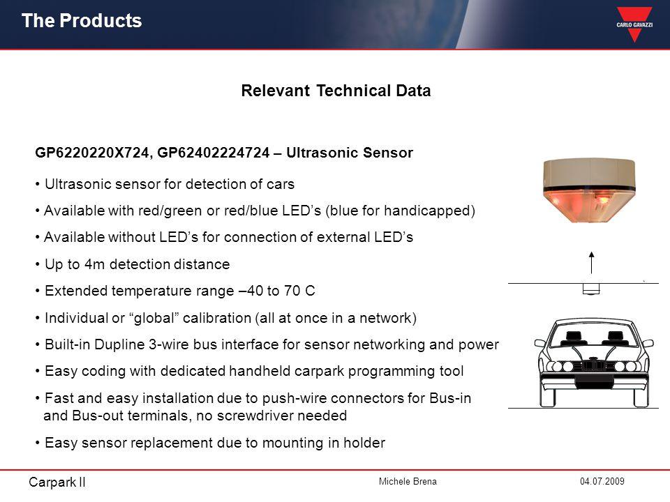 Carpark II Michele Brena 04.07.2009 Relevant Technical Data The Products GP6220220X724, GP62402224724 – Ultrasonic Sensor Ultrasonic sensor for detect