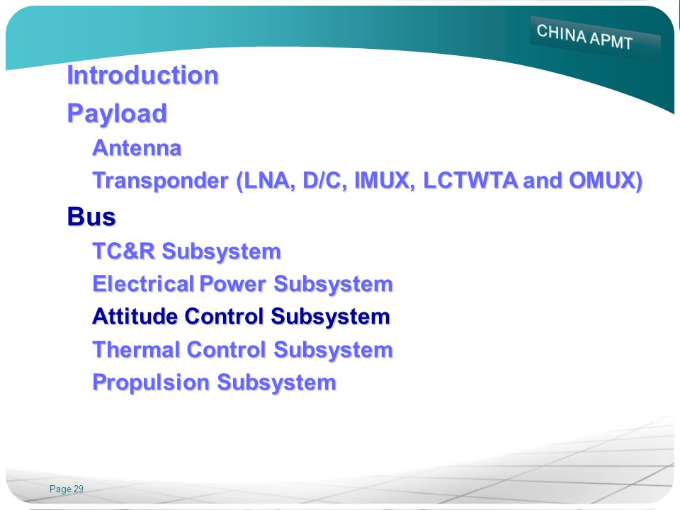 Page 29 IntroductionPayloadAntenna Transponder (LNA, D/C, IMUX, LCTWTA and OMUX) Bus TC&R Subsystem Electrical Power Subsystem Attitude Control Subsys