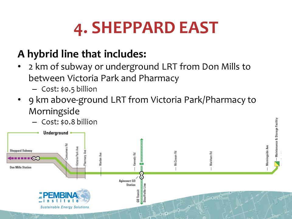 4. SHEPPARD EAST A hybrid line that includes: 2 km of subway or underground LRT from Don Mills to between Victoria Park and Pharmacy – Cost: $0.5 bill
