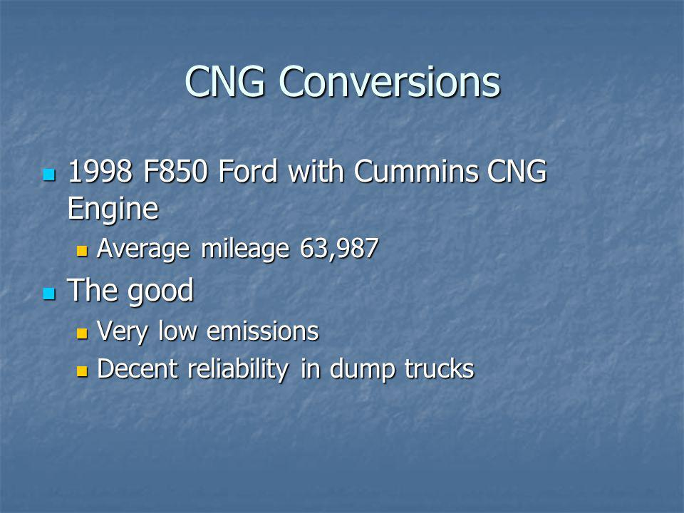 CNG Conversions 1998 F850 Ford with Cummins CNG Engine 1998 F850 Ford with Cummins CNG Engine Average mileage 63,987 Average mileage 63,987 The good T