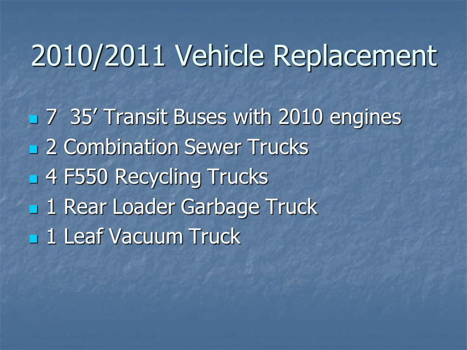 2010/2011 Vehicle Replacement 7 35 Transit Buses with 2010 engines 7 35 Transit Buses with 2010 engines 2 Combination Sewer Trucks 2 Combination Sewer Trucks 4 F550 Recycling Trucks 4 F550 Recycling Trucks 1 Rear Loader Garbage Truck 1 Rear Loader Garbage Truck 1 Leaf Vacuum Truck 1 Leaf Vacuum Truck