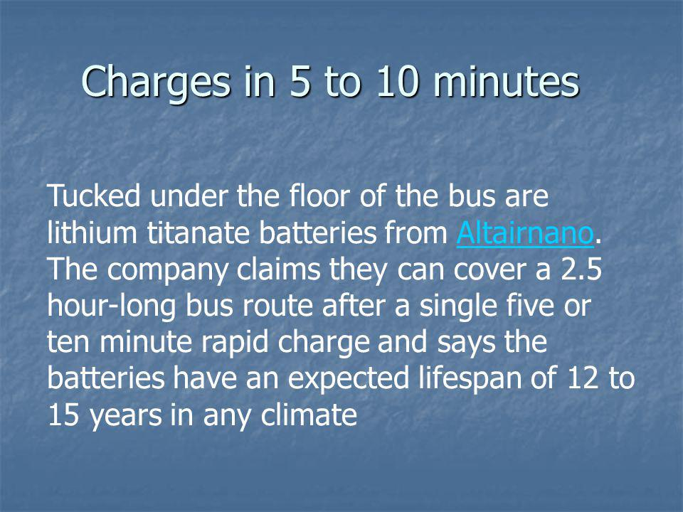 Charges in 5 to 10 minutes Tucked under the floor of the bus are lithium titanate batteries from Altairnano. The company claims they can cover a 2.5 h