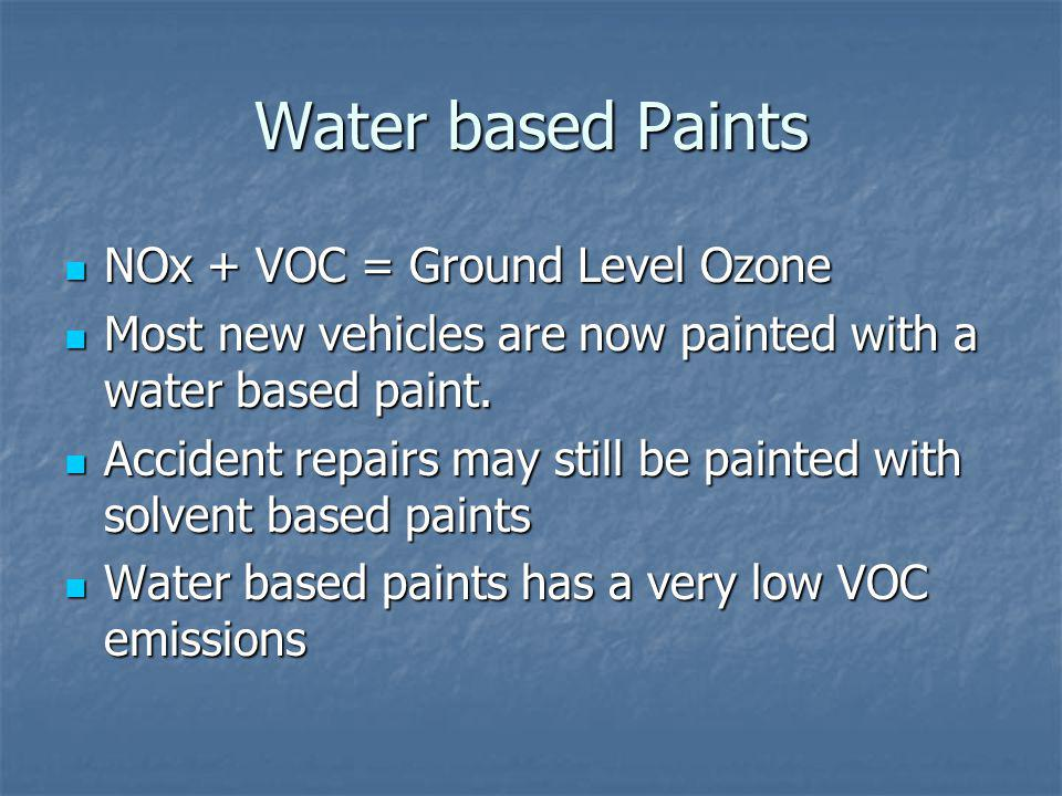 Water based Paints NOx + VOC = Ground Level Ozone NOx + VOC = Ground Level Ozone Most new vehicles are now painted with a water based paint.