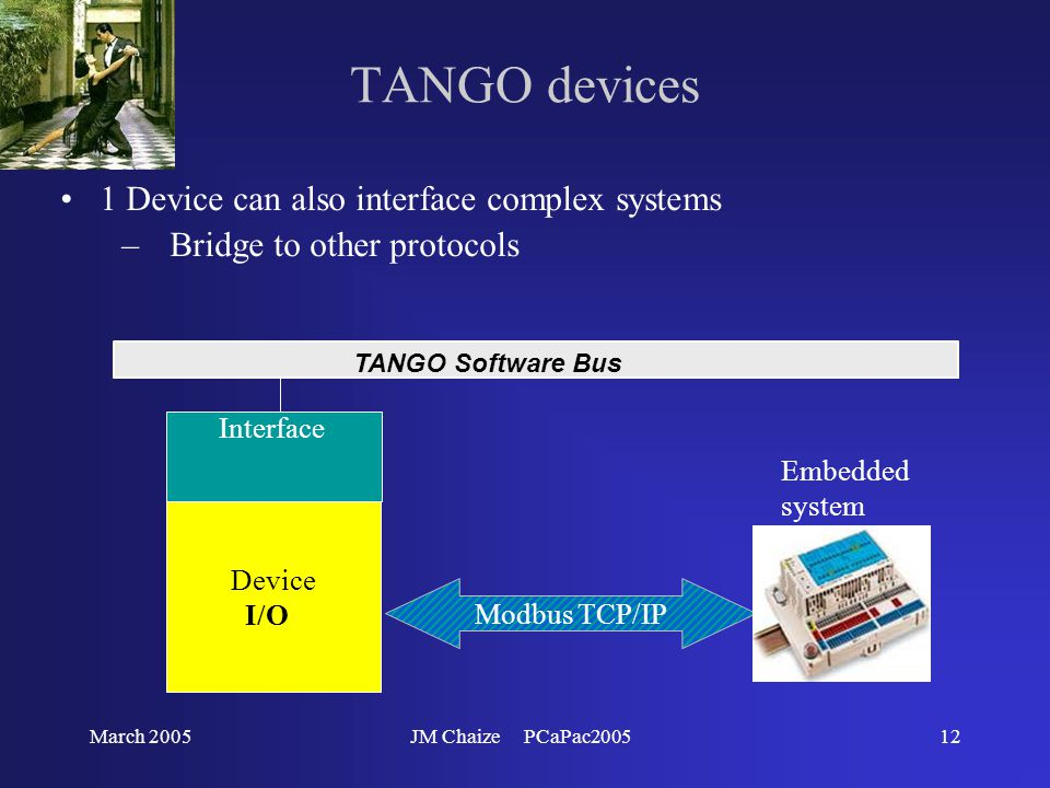 March 2005JM Chaize PCaPac200512 TANGO devices 1 Device can also interface complex systems –Bridge to other protocols TANGO Software Bus Device I/O Modbus TCP/IP Interface Embedded system