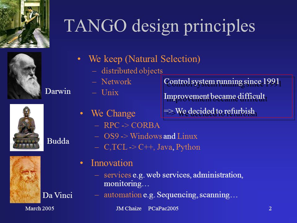 March 2005JM Chaize PCaPac20052 TANGO design principles Da Vinci Innovation –services e.g.
