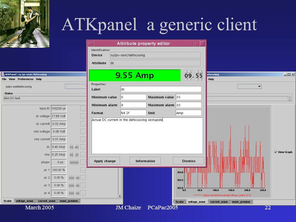 March 2005JM Chaize PCaPac200522 ATKpanel a generic client