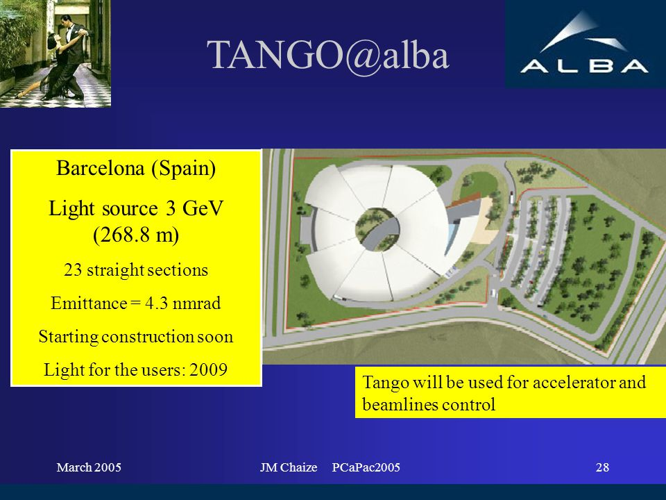 March 2005JM Chaize PCaPac200528 Barcelona (Spain) Light source 3 GeV (268.8 m) 23 straight sections Emittance = 4.3 nmrad Starting construction soon Light for the users: 2009 Tango will be used for accelerator and beamlines control TANGO@alba