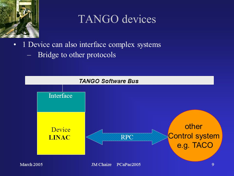 March 2005JM Chaize PCaPac200510 TANGO devices 1 Device can also interface complex systems –Bridge to other protocols TANGO Software Bus Device ID Channel Access Interface Build a TANGO object from a set of channels