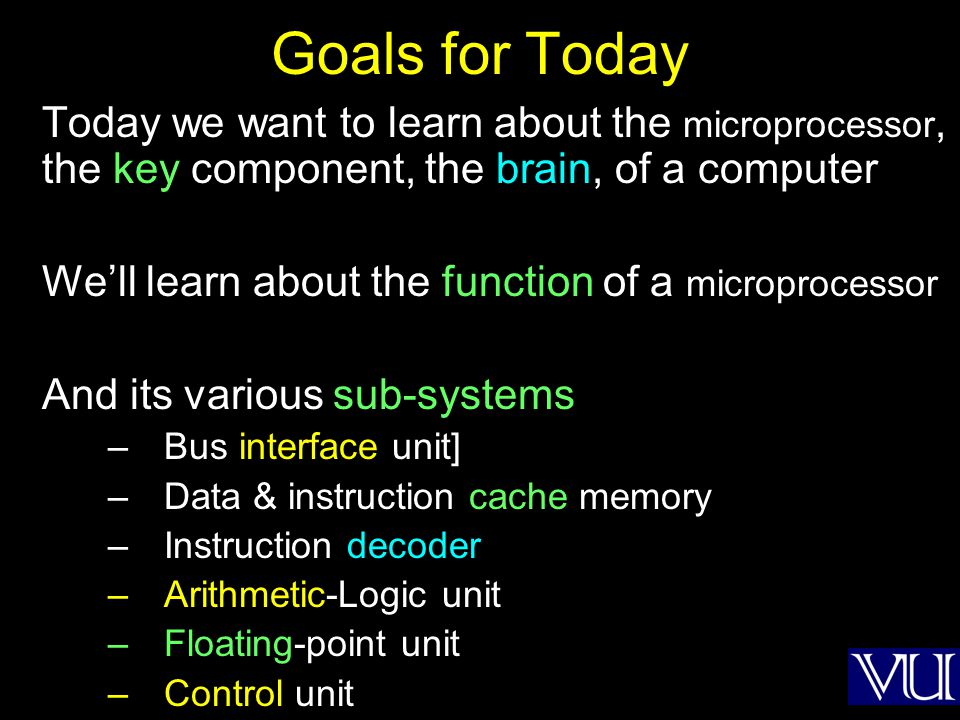 Goals for Today Today we want to learn about the microprocessor, the key component, the brain, of a computer Well learn about the function of a microp