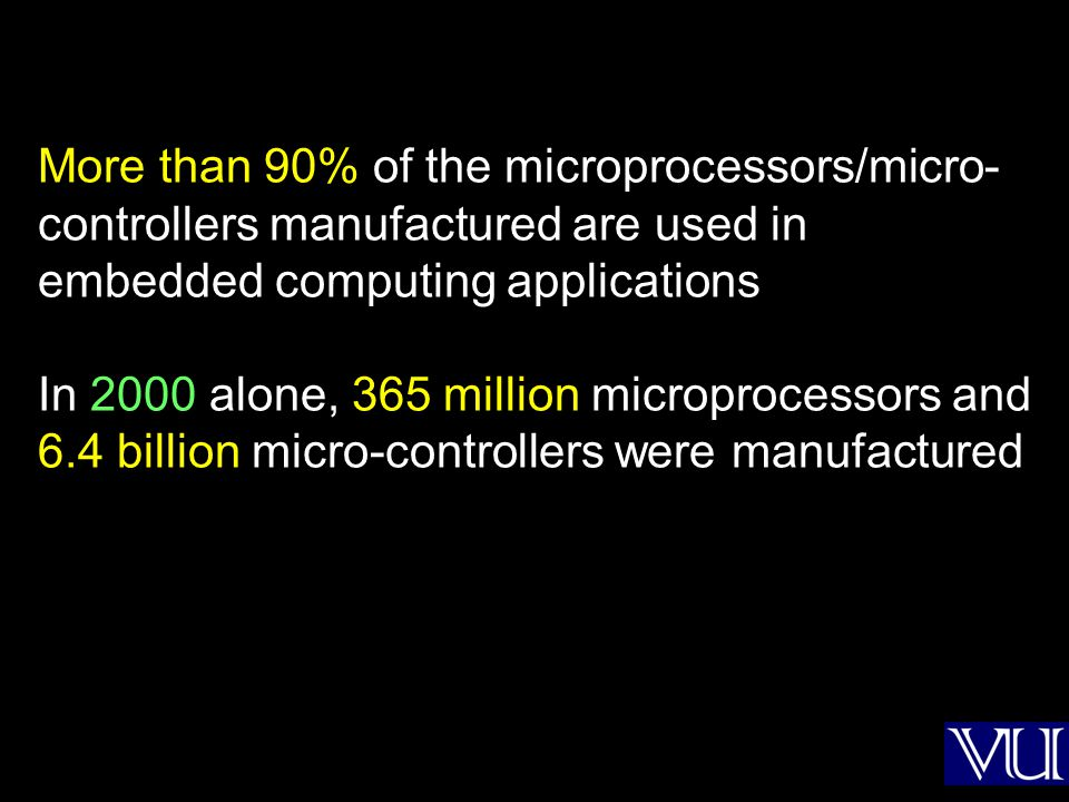 More than 90% of the microprocessors/micro- controllers manufactured are used in embedded computing applications In 2000 alone, 365 million microproce