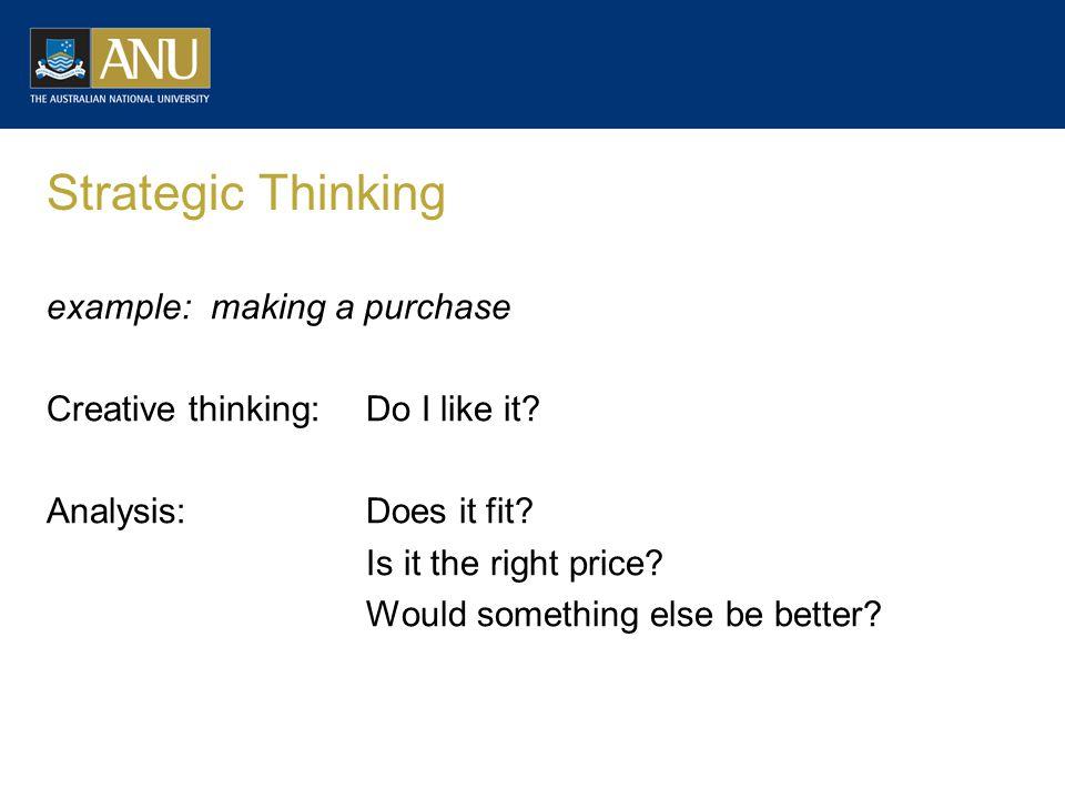 Strategic Thinking example: making a purchase Creative thinking:Do I like it.