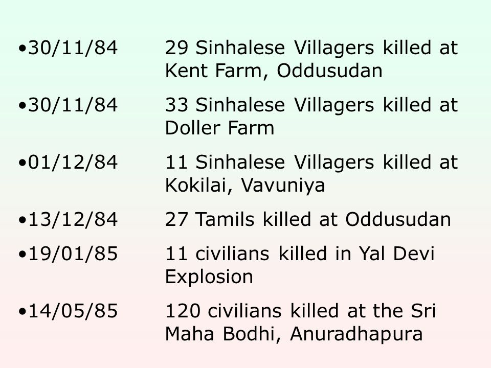 30/11/8429 Sinhalese Villagers killed at Kent Farm, Oddusudan 30/11/8433 Sinhalese Villagers killed at Doller Farm 01/12/8411 Sinhalese Villagers kill