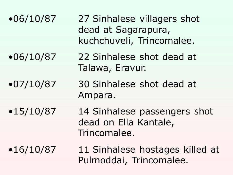 06/10/8727 Sinhalese villagers shot dead at Sagarapura, kuchchuveli, Trincomalee.
