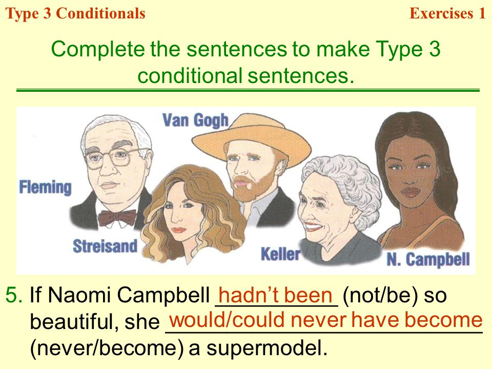 Complete the sentences to make Type 3 conditional sentences.