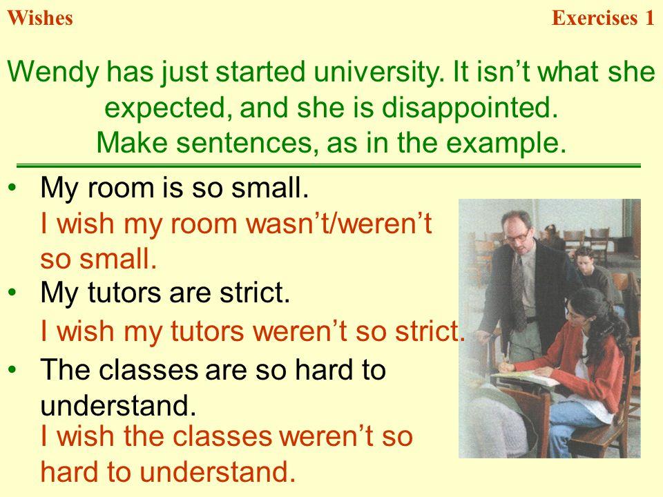 WishesExercises 1 My tutors are strict.I wish my tutors werent so strict.