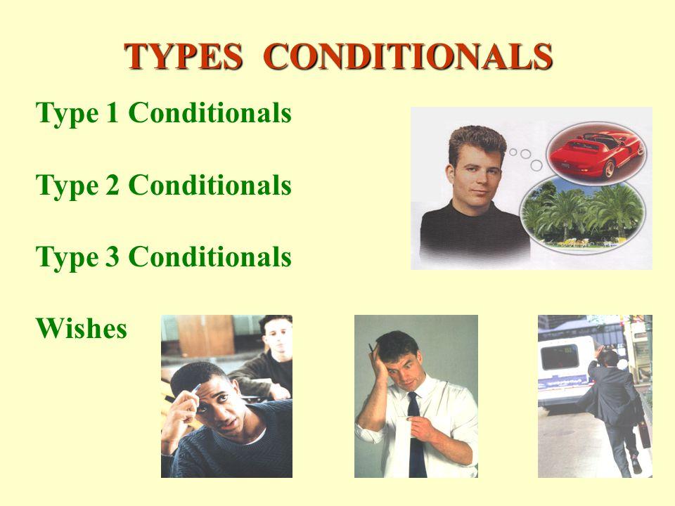 TYPES CONDITIONALS Type 1 Conditionals Type 2 Conditionals Type 3 Conditionals Wishes