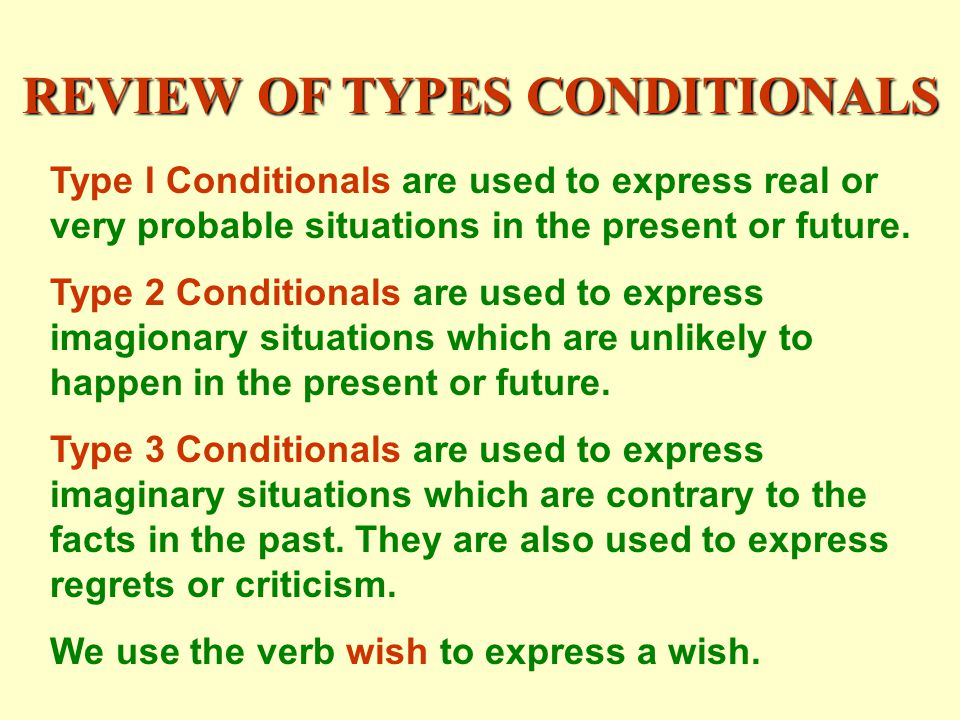 REVIEW OF TYPES CONDITIONALS Type I Conditionals are used to express real or very probable situations in the present or future.