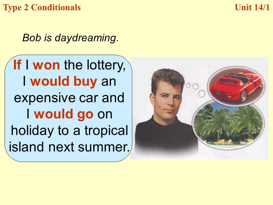 Unit 14/1Type 2 Conditionals If I won the lottery, I would buy an expensive car and I would go on holiday to a tropical island next summer.