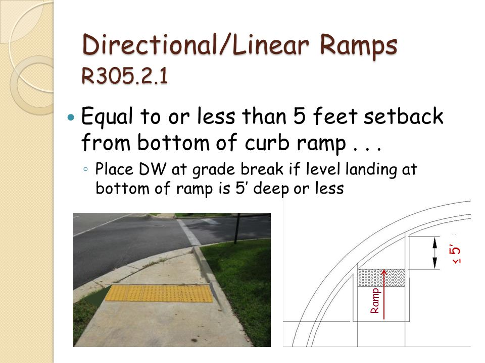 Directional/Linear Ramps R305.2.1 Equal to or less than 5 feet setback from bottom of curb ramp... Place DW at grade break if level landing at bottom