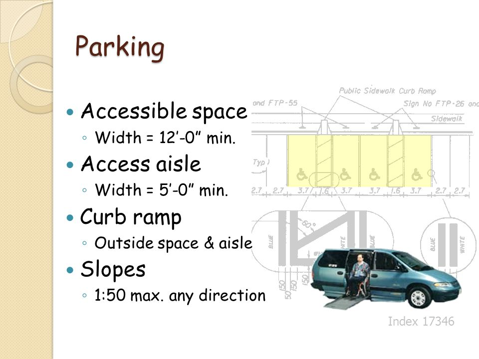 Parking Accessible space Width = 12-0 min. Access aisle Width = 5-0 min. Curb ramp Outside space & aisle Slopes 1:50 max. any direction Index 17346