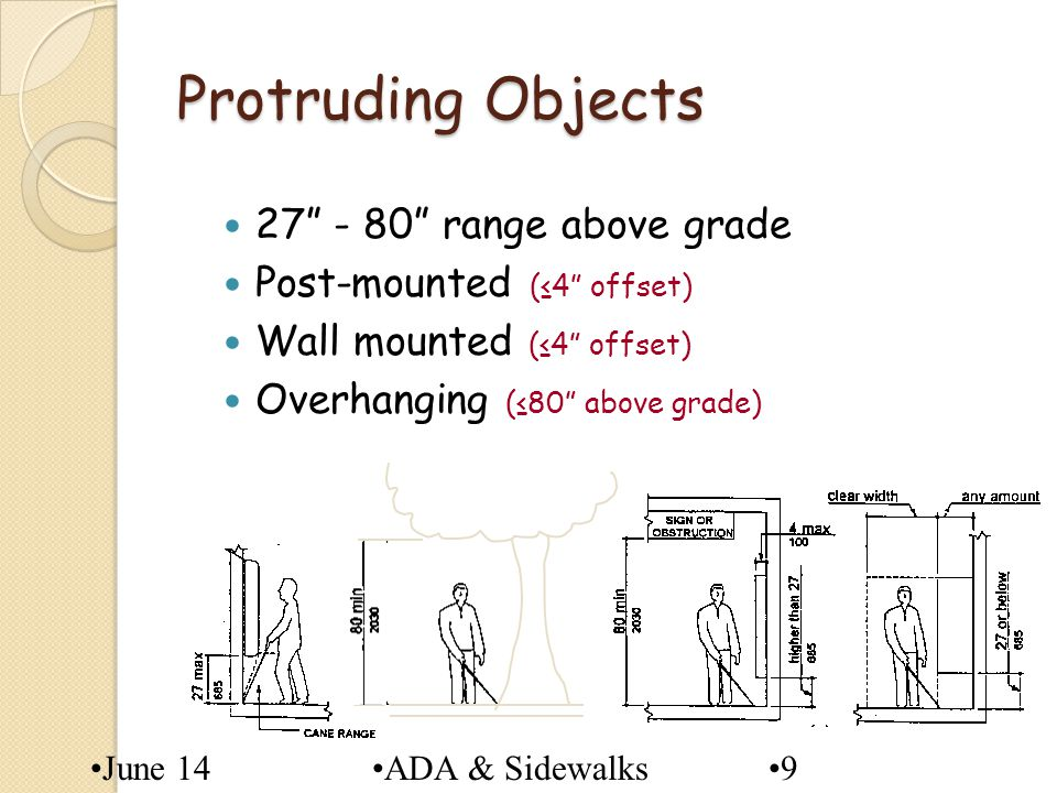 June 14ADA & Sidewalks Protruding Objects 27 - 80 range above grade Post-mounted (4 offset) Wall mounted (4 offset) Overhanging (80 above grade) 9