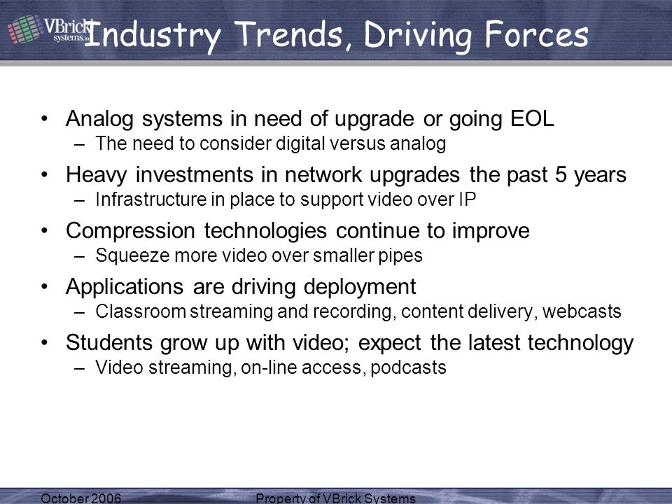 October 2006Property of VBrick Systems Industry Trends, Driving Forces Analog systems in need of upgrade or going EOL –The need to consider digital ve