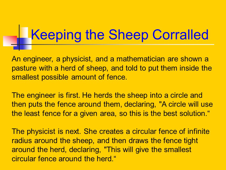 Keeping the Sheep Corralled An engineer, a physicist, and a mathematician are shown a pasture with a herd of sheep, and told to put them inside the smallest possible amount of fence.