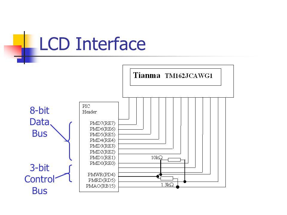 LCD Interface 8-bit Data Bus 3-bit Control Bus