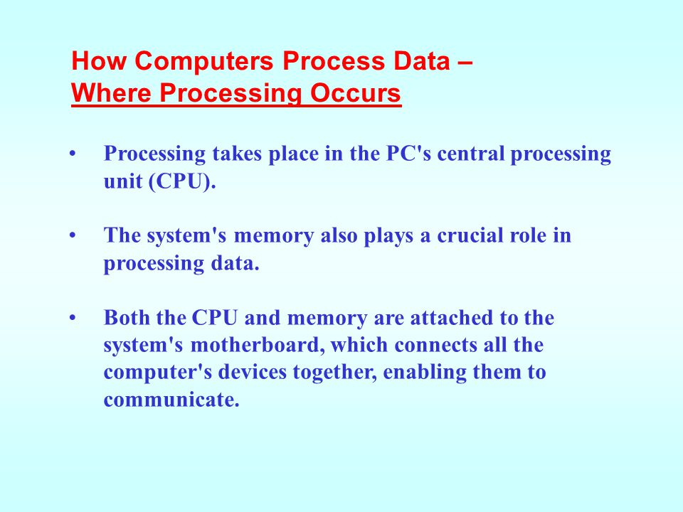 Where Processing Occurs: The Control Unit The Arithmetic Logic Unit Machine Cycles The Role of Memory in Processing Types of RAM How Computers Process Data