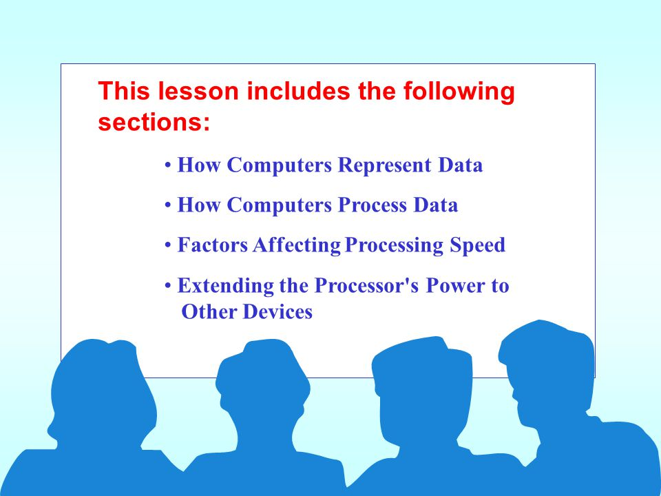 This lesson includes the following sections: How Computers Represent Data How Computers Process Data Factors Affecting Processing Speed Extending the Processor s Power to Other Devices