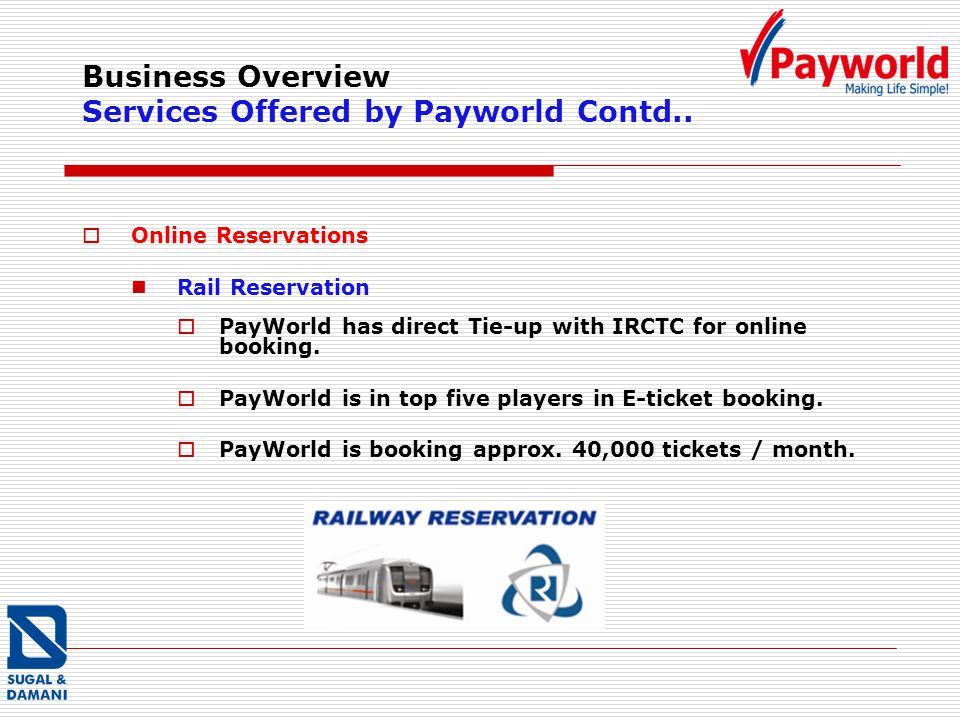 Business Overview Services Offered by Payworld Contd.. Online Reservations Rail Reservation PayWorld has direct Tie-up with IRCTC for online booking.