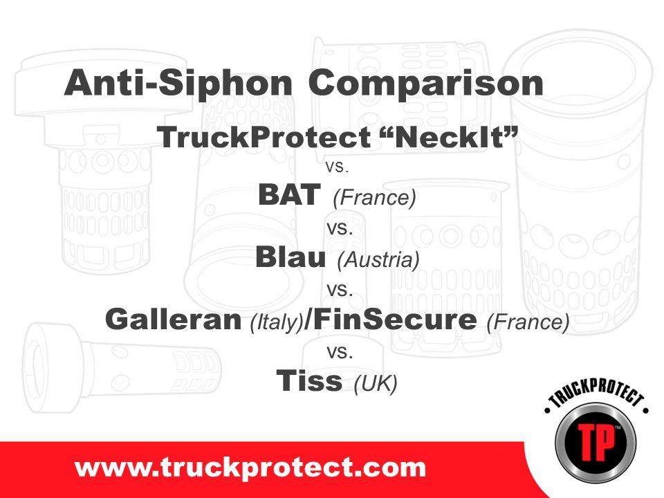 www.truckprotect.com Anti-Siphon Comparison TruckProtect NeckIt vs. BAT (France) vs. Blau (Austria) vs. Galleran (Italy) /FinSecure (France) vs. Tiss