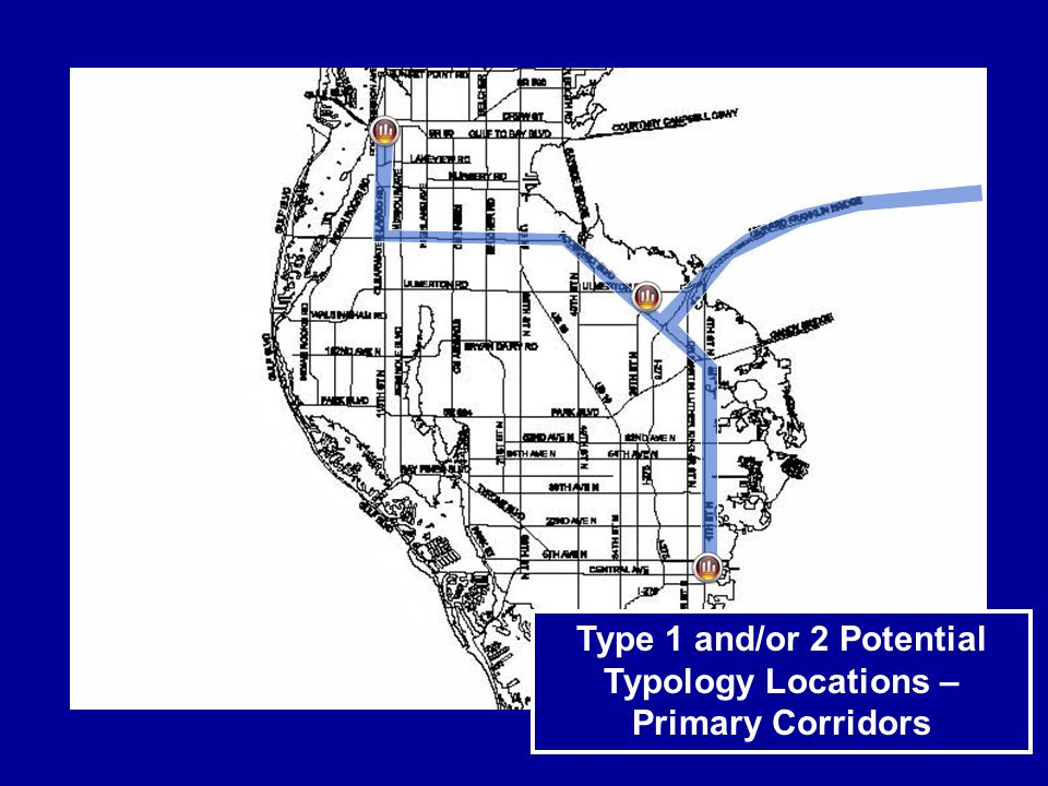 Type 1 and/or 2 Potential Typology Locations – Primary Corridors