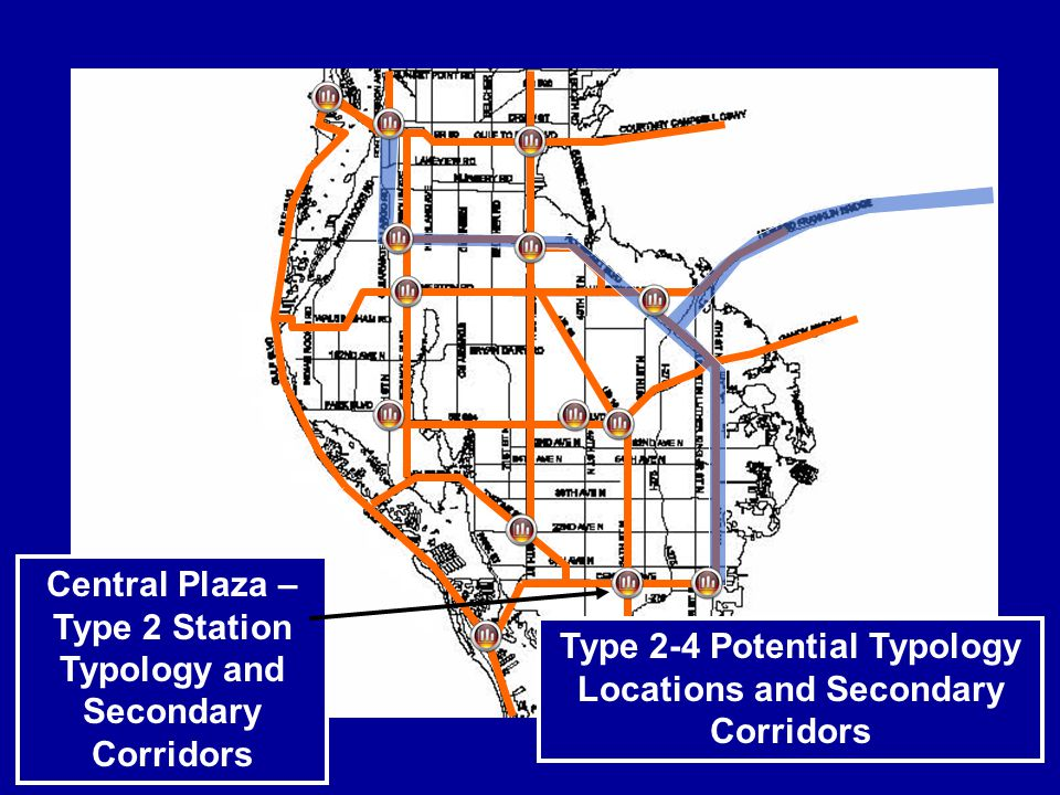 Central Plaza – Type 2 Station Typology and Secondary Corridors Type 2-4 Potential Typology Locations and Secondary Corridors