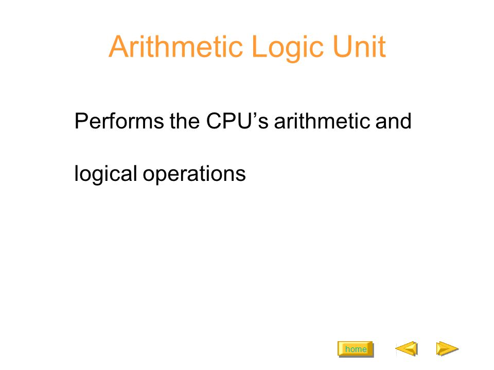 home Arithmetic Logic Unit Performs the CPUs arithmetic and logical operations