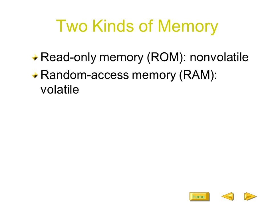 home Two Kinds of Memory Read-only memory (ROM): nonvolatile Random-access memory (RAM): volatile