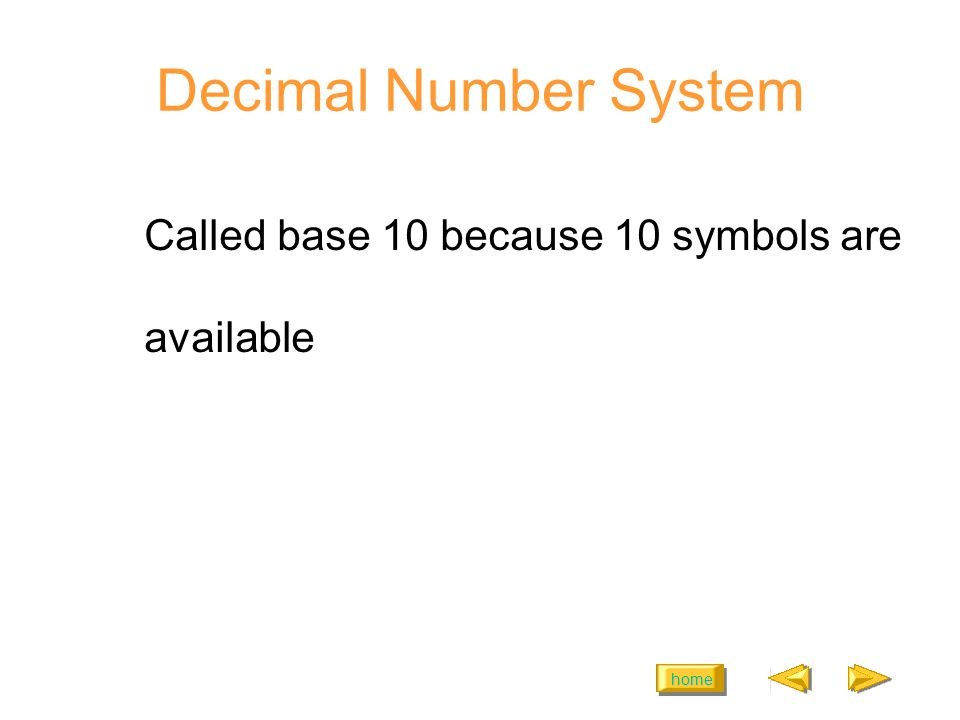 home Decimal Number System Called base 10 because 10 symbols are available