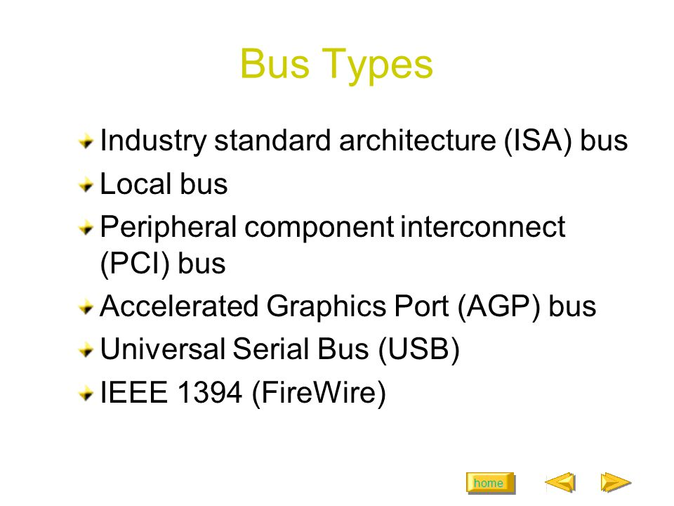 home Bus Types Industry standard architecture (ISA) bus Local bus Peripheral component interconnect (PCI) bus Accelerated Graphics Port (AGP) bus Universal Serial Bus (USB) IEEE 1394 (FireWire)