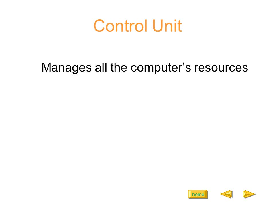 home Control Unit Manages all the computers resources