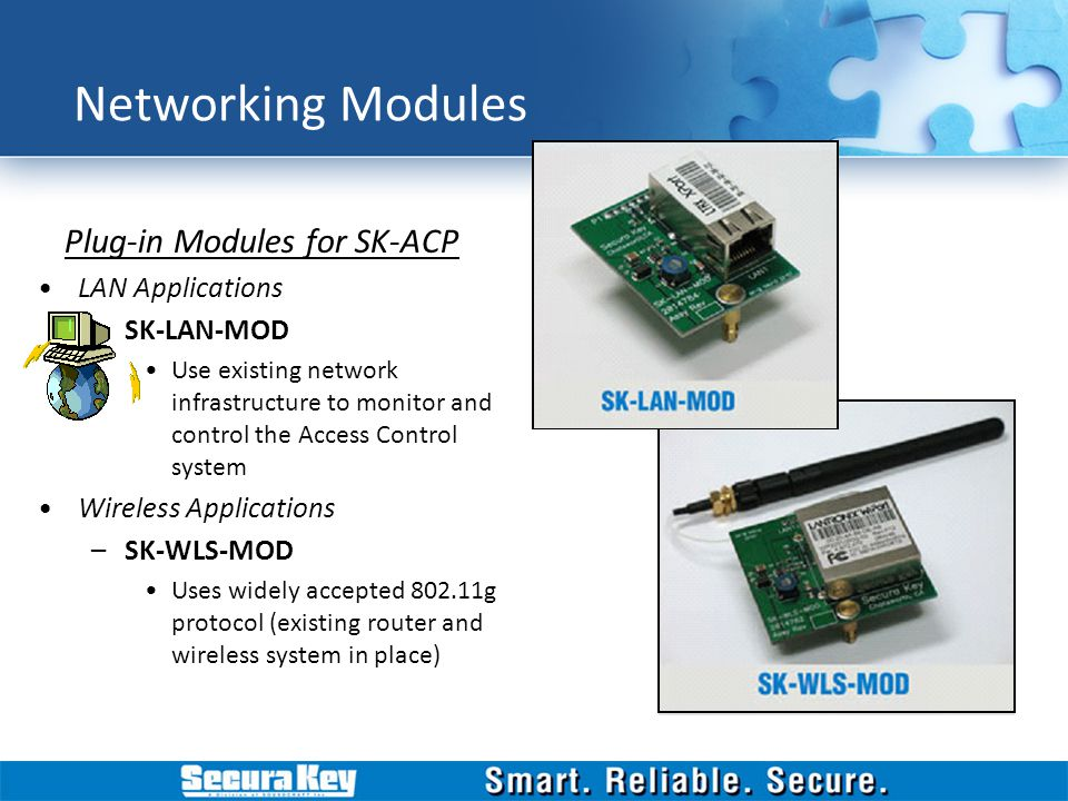 Networking Modules Plug-in Modules for SK-ACP LAN Applications –SK-LAN-MOD Use existing network infrastructure to monitor and control the Access Contr