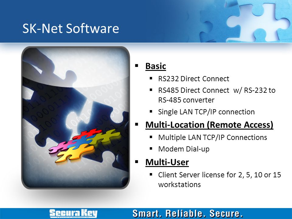 SK-Net Software Basic RS232 Direct Connect RS485 Direct Connect w/ RS-232 to RS-485 converter Single LAN TCP/IP connection Multi-Location (Remote Acce