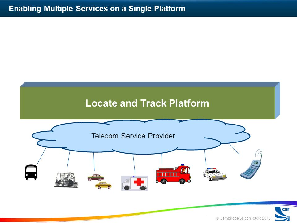 © Cambridge Silicon Radio 2010 Enabling Multiple Services on a Single Platform Locate and Track Platform Telecom Service Provider