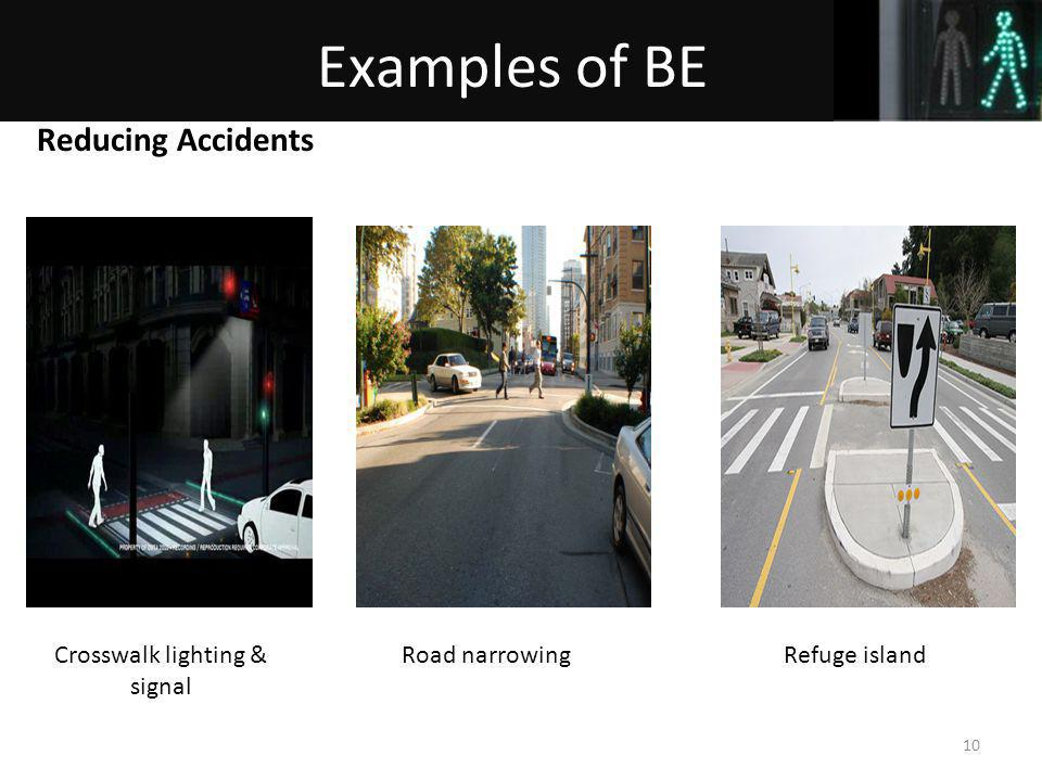 Crosswalk lighting & signal Refuge islandRoad narrowing Reducing Accidents 10 Examples of BE