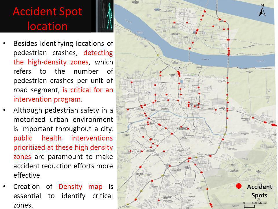 Accident Spots Besides identifying locations of pedestrian crashes, detecting the high-density zones, which refers to the number of pedestrian crashes
